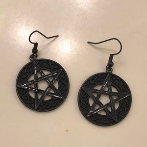 Black Star Dangle Earrings